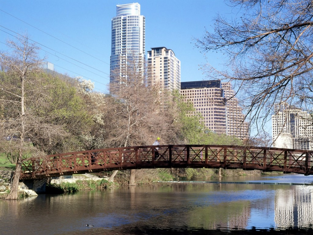 Lady Bird Lake trail and bridge