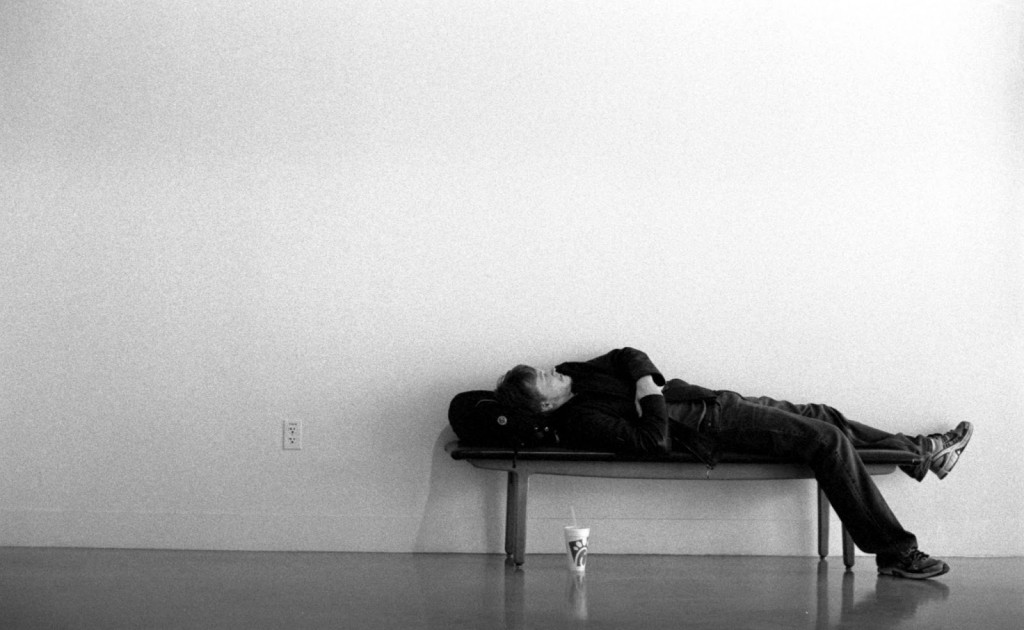 Sleeping Student UT Austin school of Fine Arts building
