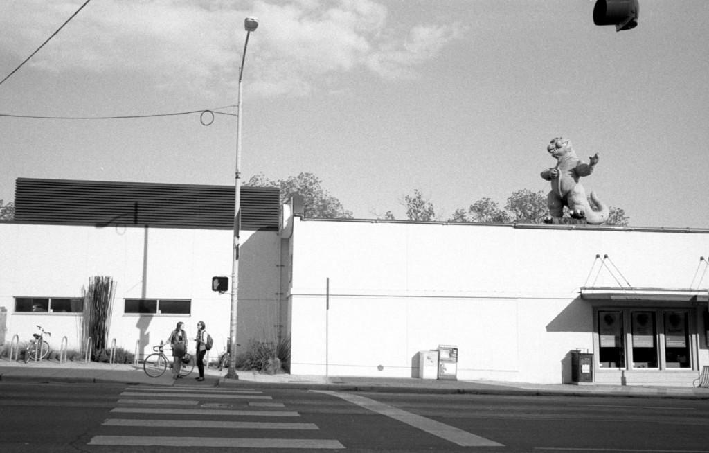 Godzilla overlooks Wheatsville Co-op in Austin, Texas