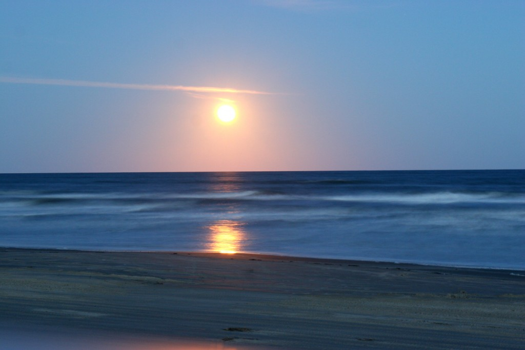 Moon over South Padre National Seashore