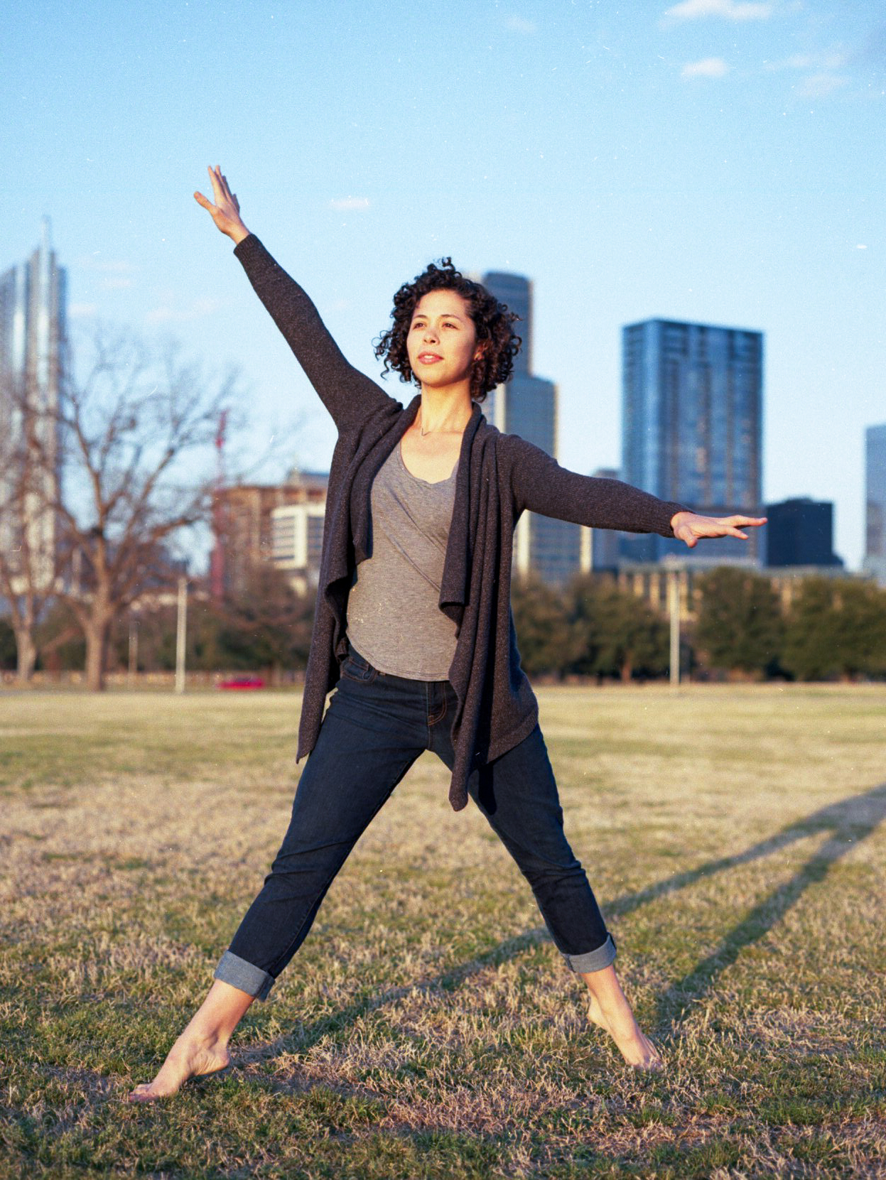 Jessica stands tall in front of Auditorium Shores