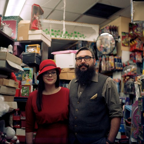 Hip couple in retro attire